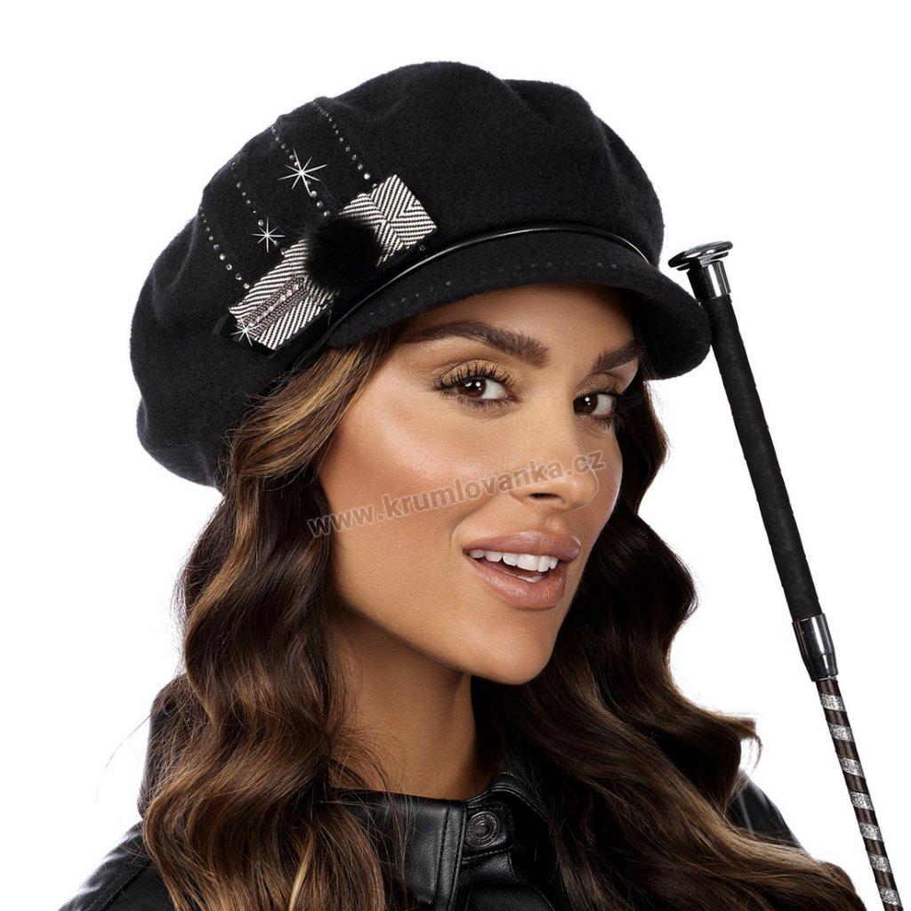 Dámský vlněný baret s kšiltem W-0078/018 černý
