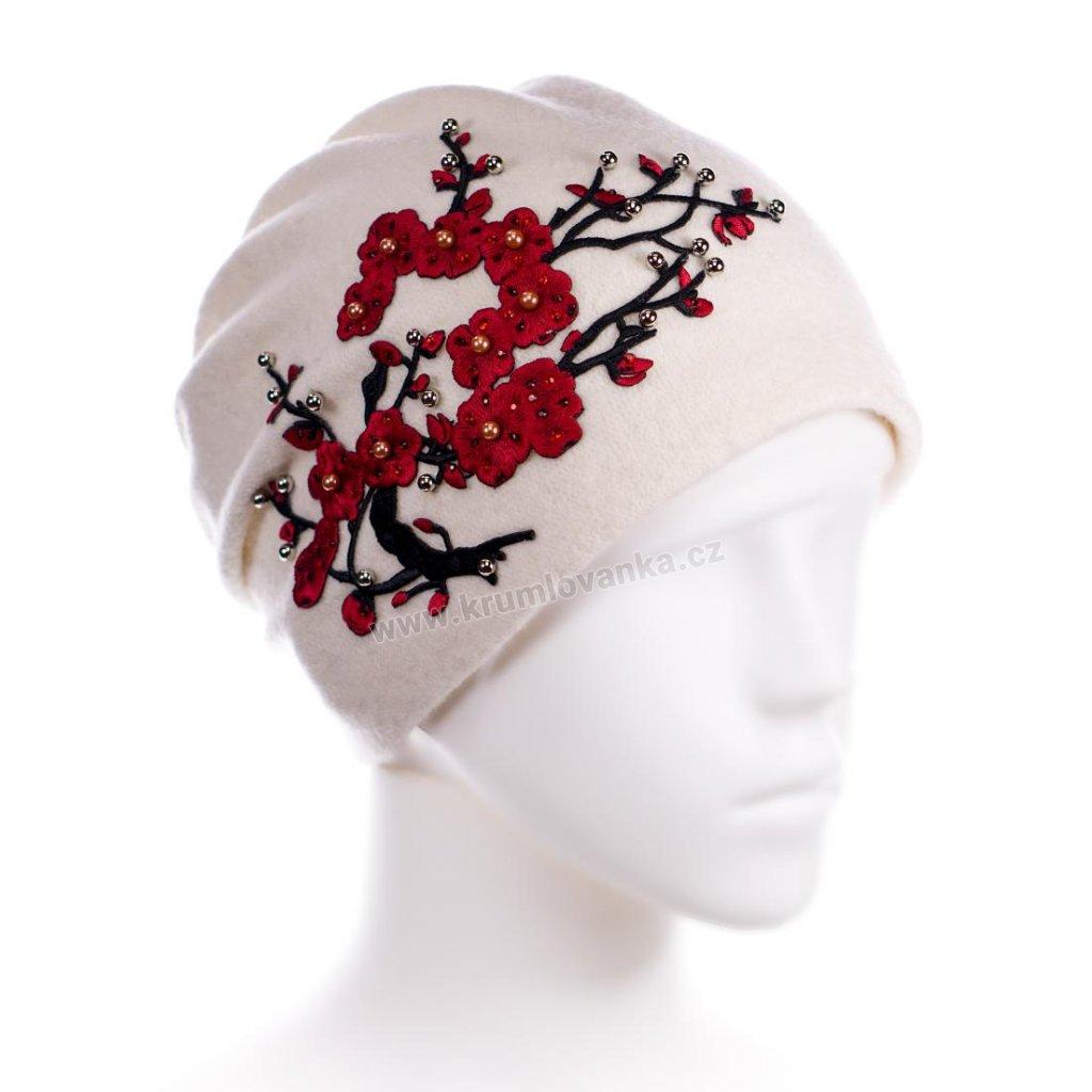 Dámská vlněná čepice W-0053/000 bílá