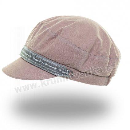Dámská lněná čepice Krumlovanka 437059 s kšiltem starorůžová