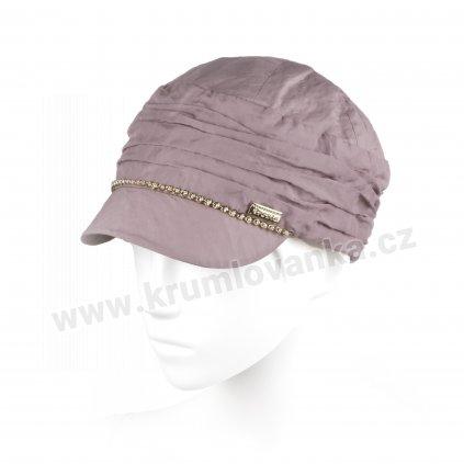 Dámská lněná čepice s kšiltem Krumlovanka 426089 starorůžová