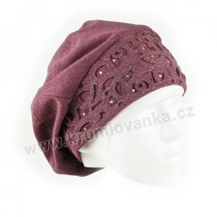 Dámská bavlněná čepice s aplikací ornamentu starorůžová1