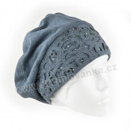 Dámská bavlněná čepice s aplikací ornamentu světle modrá