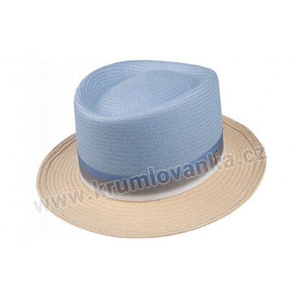 Slaměný klobouk TONAK Porkpie Base le Ciel 36060  modý