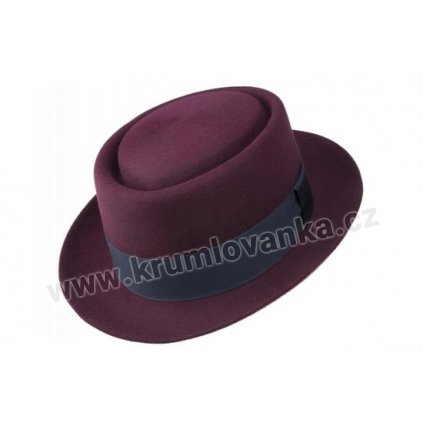 Plstěný klobouk TONAK Porkpie Hirzo Nigro 41114/16 bordový Q 1024