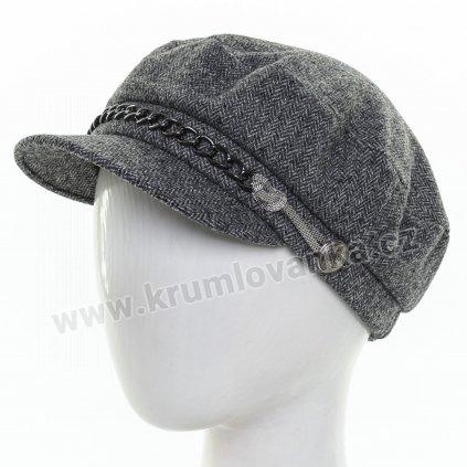 Dámská vlněná čepice s kšiltem Krumlovanka  425697 tmavě šedá