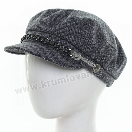 Dámská vlněná čepice s kšiltem Krumlovanka  425699 modrá