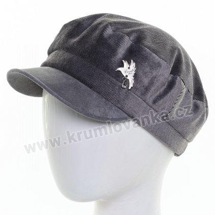Dámská velurová čepice s kšiltem Krumlovanka 425237 šedá