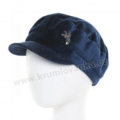 Dámská velurová čepice s kšiltem Krumlovanka 425231 modrá