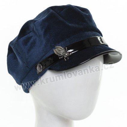 Dámská velurová čepice s kšiltem Krumlovanka  434043 modrá