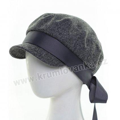 Dámská vlněná čepice s kšiltem Krumlovanka 413050 tmavě šedá