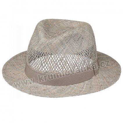 Letní slaměný klobouk Fedora z mořské trávy s větráním
