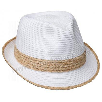 Letní klobouk Trilby s rafiovým páskem 69797 bílý