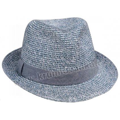 Letní klobouk Trilby s džínovým páskem 69824 modrý