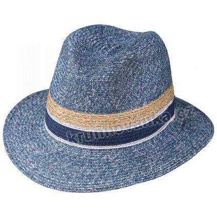 Letní klobouk Fiebig Fedora 16644 modrý