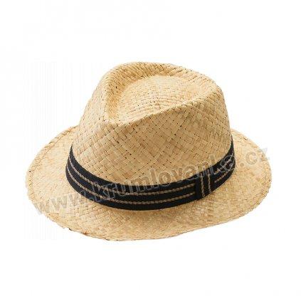 Letní klobouk Fedora s úzkou krempou rafie natural