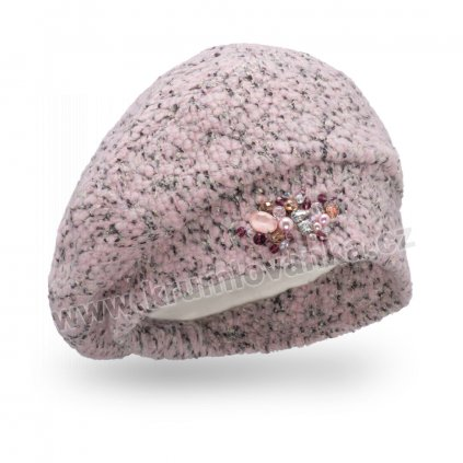 Dámská čepice s bižuterií - buklé růžová