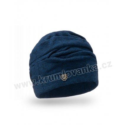 Dámská čepice se skládaným lemem modrá