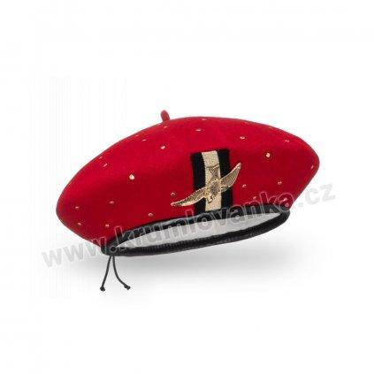 Dámský vlněný baret podšitý flísem se zlatým ptáčkem červený