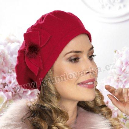 Dámský vlněný baret s prošíváním a bambulkou červený
