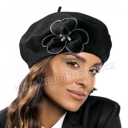 Dámský vlněný baret černý s šedě obšívaným květem