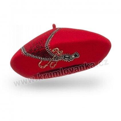 Dámský baret s výšivkou zipu  červený