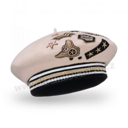 Dámský vlněný baret s eleastickým páskem podšitý flísem  s výšivkami béžový