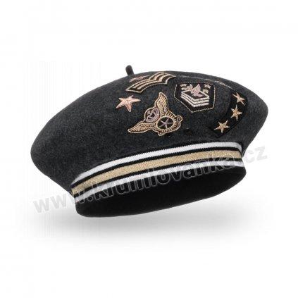 Dámský vlněný baret s eleastickým páskem podšitý flísem  s výšivkami antracitový