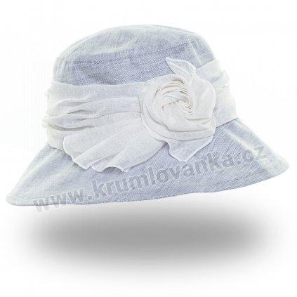 Dámský letní klobouk Krumlovanka  381070 světle šedý s bílou stuhou