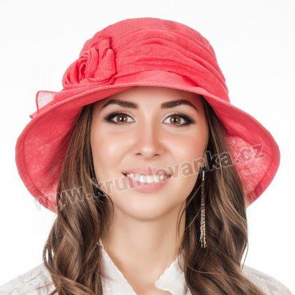 Dámský letní klobouk Krumlovanka 381076 korálově červený