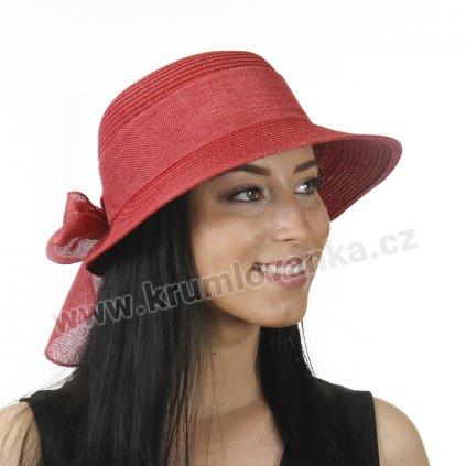 Dámský letní klobouk s kšiltem a se stuhou červený 527 2