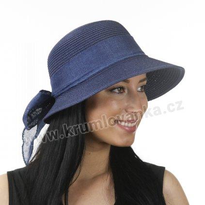 Dámský letní klobouk s kšiltem a se stuhou modrý 527 2