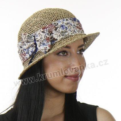 Dámský letní klobouk z mořské trávy  209450 stuha s modročervenými květy