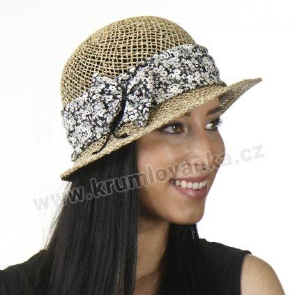 Dámský letní klobouk z mořské trávy  295290 stuha s černobílými květy