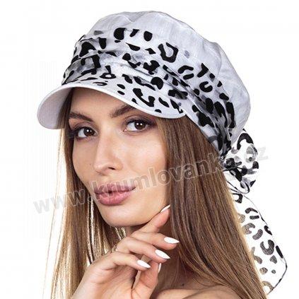 441455, 441456 Рамина кепка лен милано белый + органза леопард серебро 1xx