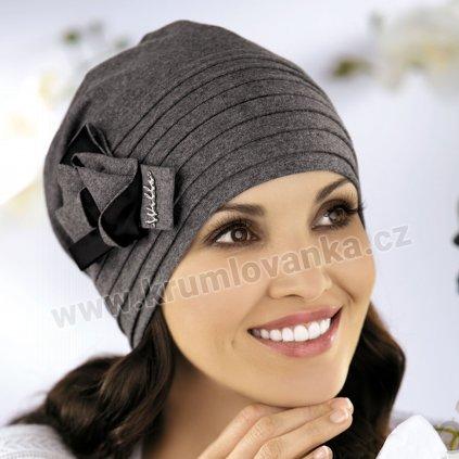 Krumlovanka Dámská bavlněná čepice s trojmašlí antracitová