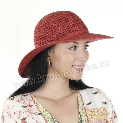 Dámský letní klobouk Big Brim 17022 červený