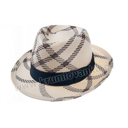 Letní klobouk TONAK Fedora Claude 36011 s černou stuhou
