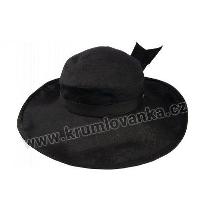 Lněný klobouk TONAK Brim Hat Base Notte 021/19 černý