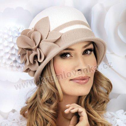 Dámský dvoubarevný klobouk W-0023/517 světle béžový-bílý