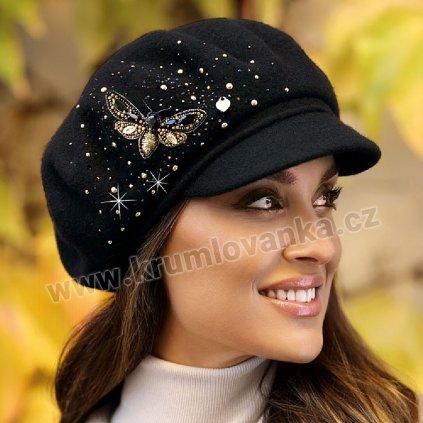 Zimní čepice s kšiltem a bambulí W-0025/018 černá