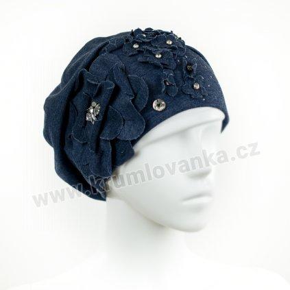 Dámská bavlněná čepice W-0045/D161 modrá