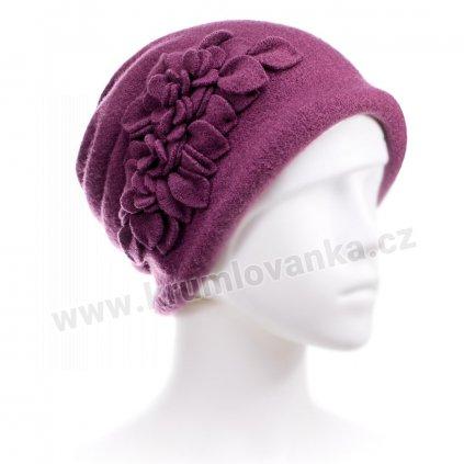 Dámský zimní klobouček W-0055/802 tmavě purpurový