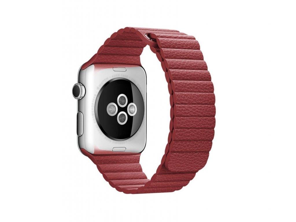 Clearo Magnetic Leather kožený řemínek / pásek pro Apple Watch 42mm – Červený