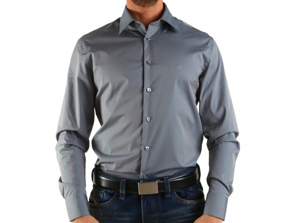 Calvin Klein pánská košile Light Gray velikost L - 42 16 0f117d5f9b