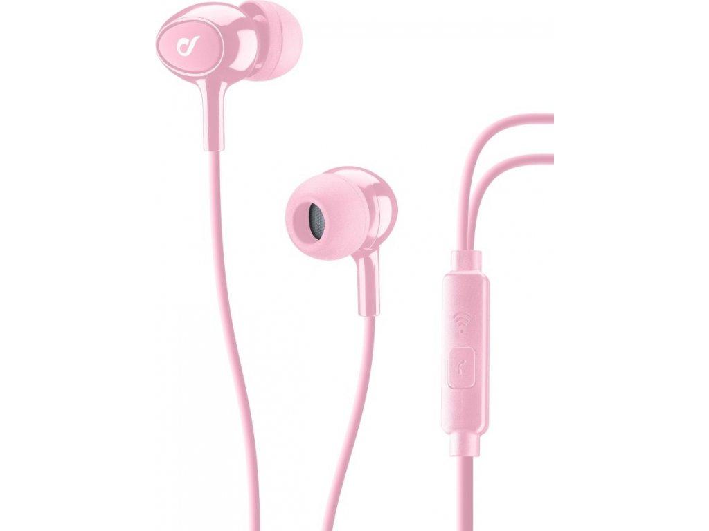 In-ear sluchátka CELLULARLINE ACOUSTIC s mikrofonem, AQL® certifikace, 3,5 mm jack, růžové