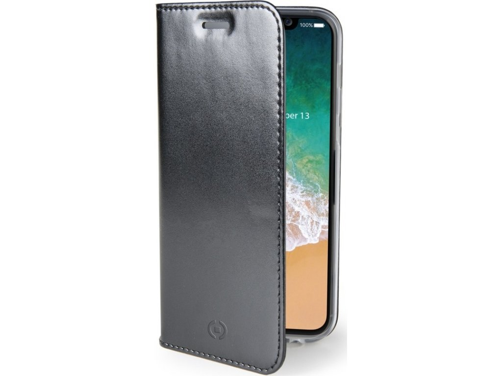Ultra tenké pouzdro typu kniha CELLY Air pro Apple iPhone X/XS, PU kůže, černé