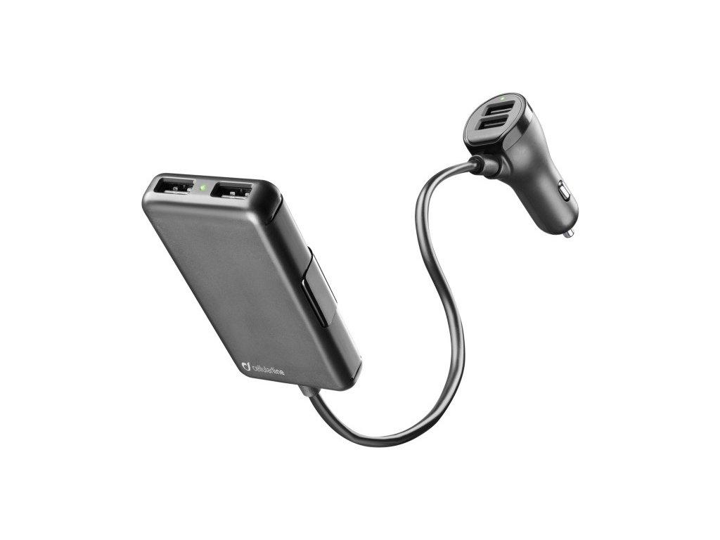 Autonabíječka Cellularline s 4 x USB, 7.2 A, černá