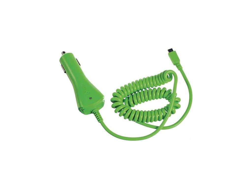 CL autonabíječka CELLY s konektorem microUSB, 1A, zelená