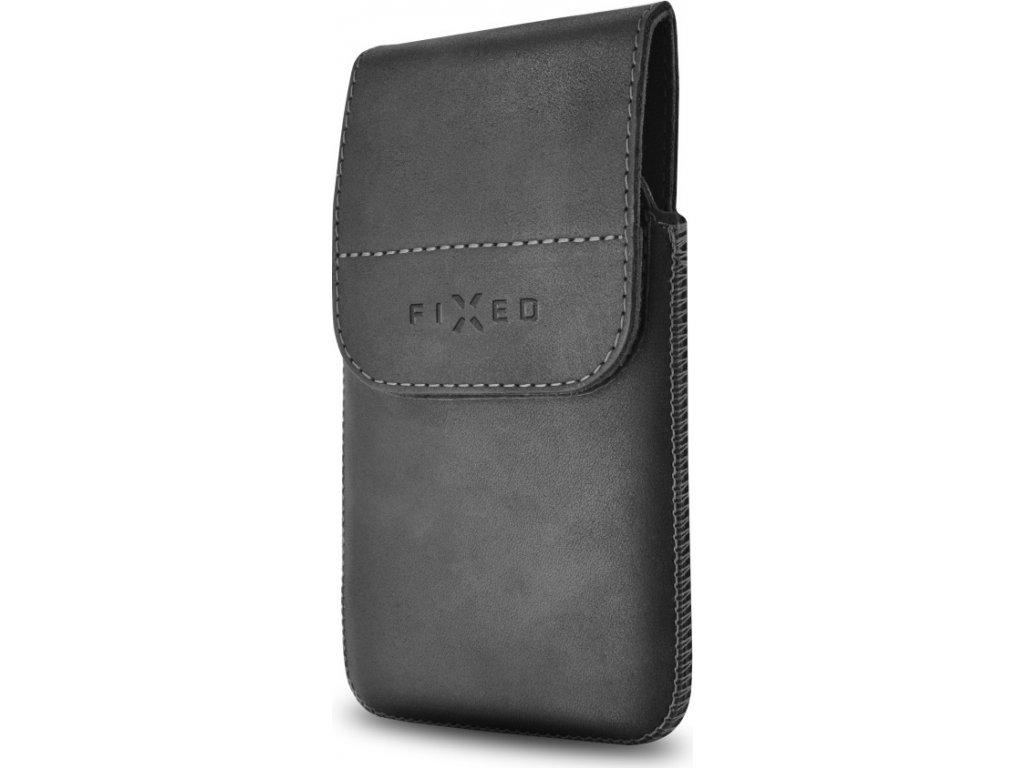 Kožené pouzdro FIXED Posh Pocket s klipem, velikost 5XL+, černé