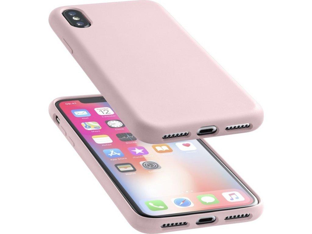 Ochranný silikonový kryt CellularLine SENSATION pro Apple iPhone X/XS, starorůžový
